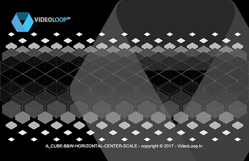 VideoLoop.tv | A horizontal center scale isometric black and white cubes animation