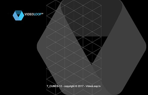 VideoLoop.tv | Tiled isometric black and white wired cube - Can be repeated on horizontal axis.