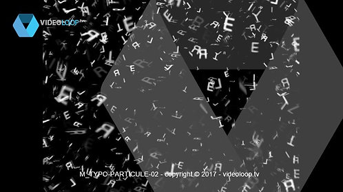 VideoLoop.tv | Typo particles arrive in front