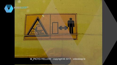 VideoLoop.tv   Warning man yellow sign