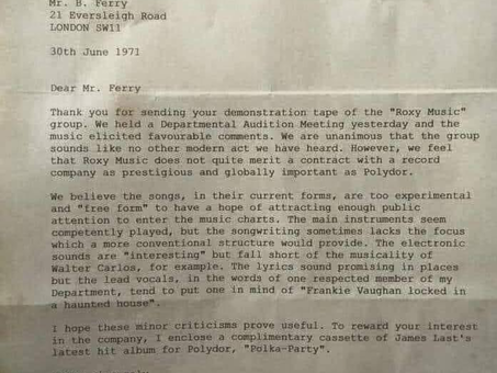 Bryan Ferry's Polydor rejection letter shows how disruptive technology confounds cynics