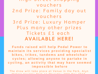 Pedal Power Prize Draw Tickets now available