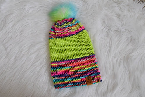 Fitted Beanie: Lime/Multi-color Pom