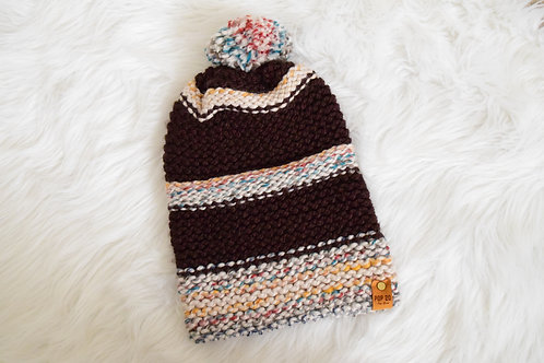 Slouchy Beanie: Brown/Multi-color
