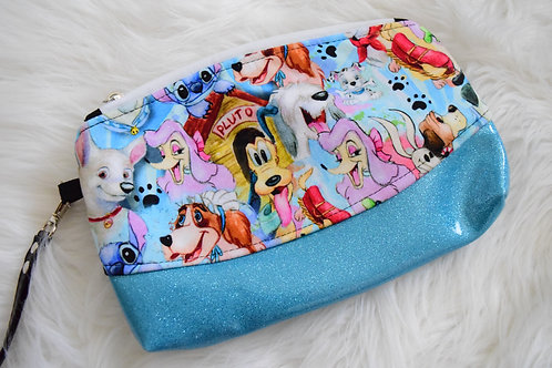 Watercolor Dogs Glitter Wristlet
