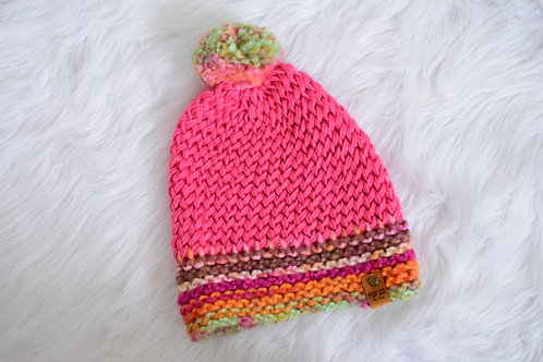 Slouchy Beanie: Pink/Loose Weave