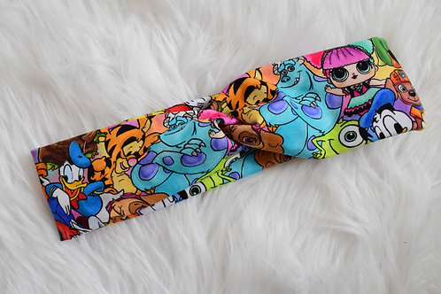 Kids Cartoons Faux Turban Headband