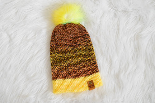 Fitted Beanie: Soft Yellow/Warm Browns