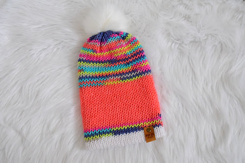 Fitted Beanie: White Pom/Multi-color