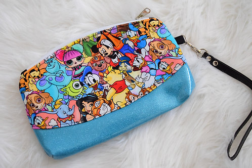 Kids Cartoons Glitter Wristlet