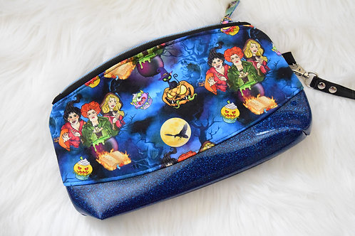 Witchy Sisters Blue Glitter Wristlet