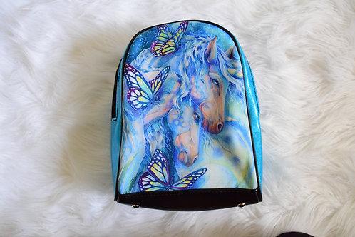 Blue Glitter Butterfly Unicorns Mini Backpack