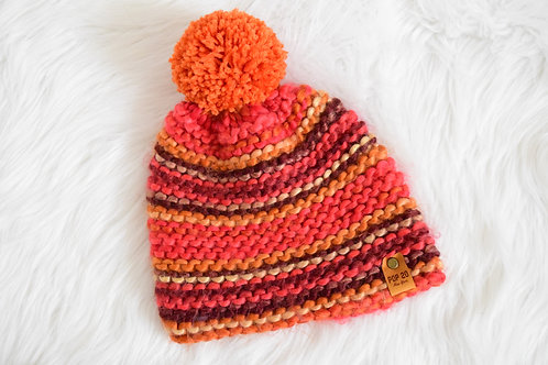 Fitted Beanie: Chunky Fall Tones