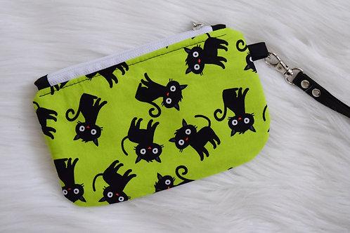 Lime Cats Mini Wristlet