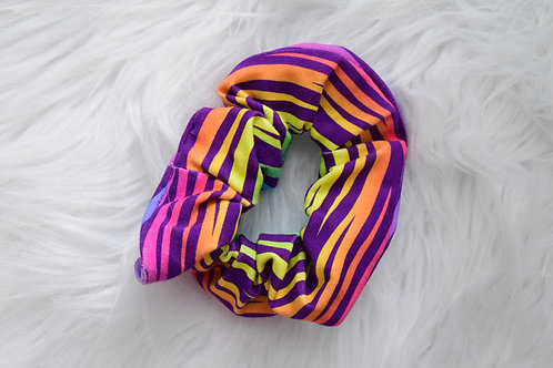 Rainbow Zebra Stripe Scrunchie