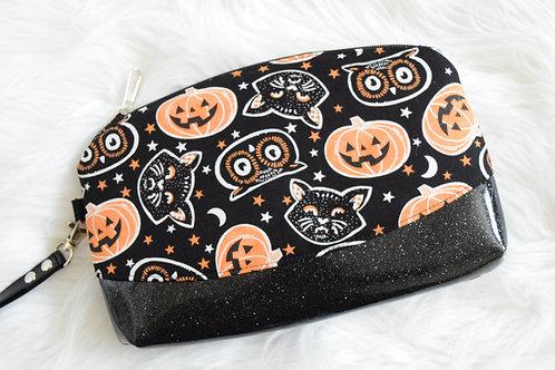 Vintage Pumpkin Glitter Wristlet