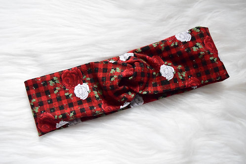 Winter Plaid Faux Turban Headband