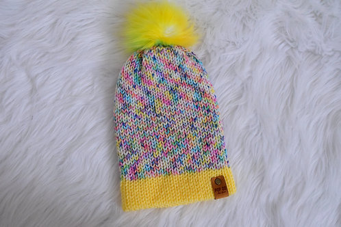 Fitted Beanie: Soft Yellow/Multi-color