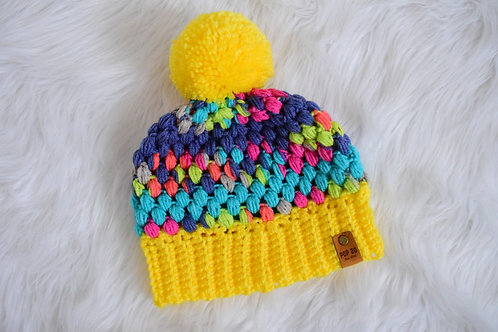 Cupcake Beanie: Multi-color/Spring Yellow Brim