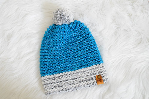 Slouchy Beanie: Blue/Heathered Gray