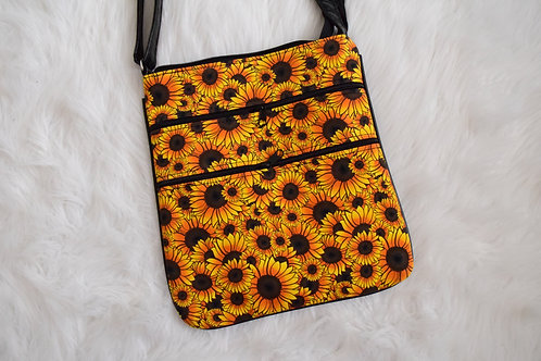 Sunflowers Triple Zip Crossbody
