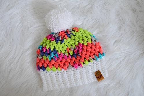 Cupcake Beanie: Multi-color/White Brim