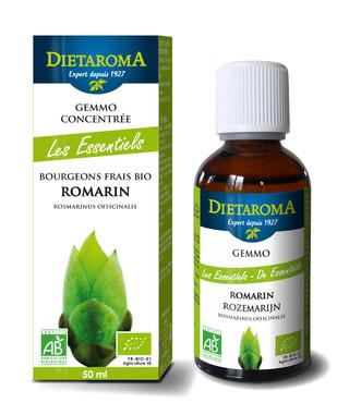 Gamme des bourgeons individuels Dietaroma. Étui en carton et flacon en verre brun pour protéger le produit des UVs.