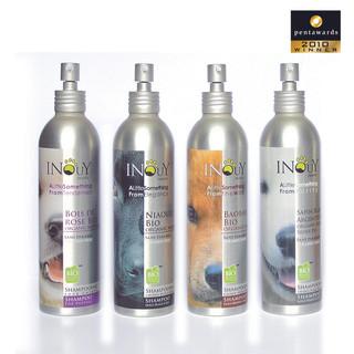 Brief : Création des packagings de la gamme de shampoings pour chiens INOUY. Flacon alu. Prix de packaging : Pentaward 2010