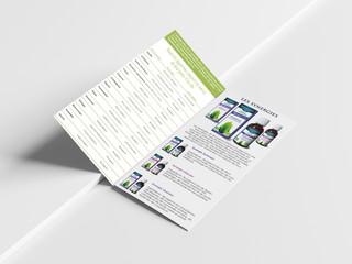 Dépliant descriptif de la gamme, distribué en magasins bio