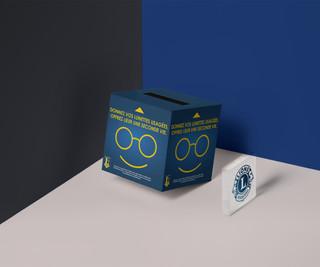 Graphisme d'une urne destinée à récolter les lunettes de nos fonds de tiroirs pour les distribuer partout dans le monde. A retrouver dans certains commerces de Lille et alentours