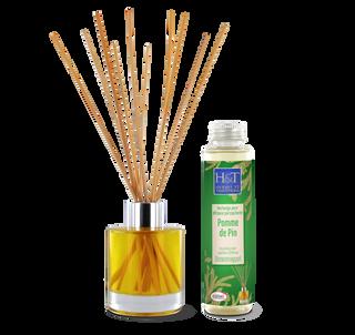 Packaging de l'huile essentielle Bio à diffuser Pomme de Pin. Étiquette flacon, étui cartonné et sérigraphie du diffuseur en verre
