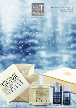 Création des packagings de la gamme de bougies de massage et de parfums d'ambiance, packshot produits, encarts pub