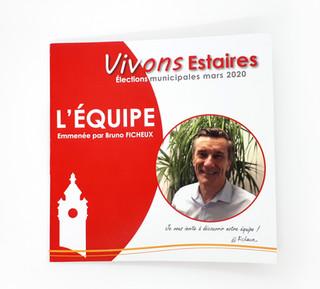 Briefs : Graphismes et mises en pages des documents et supports de campagne pour Bruno FICHEUX (Estaires, 59) en vue des élections municipales.