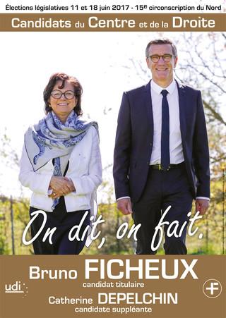 Conception des affiches de campagne et bulletins de vote FICHEUX / DEPELCHIN pour les élections législatives 2017.