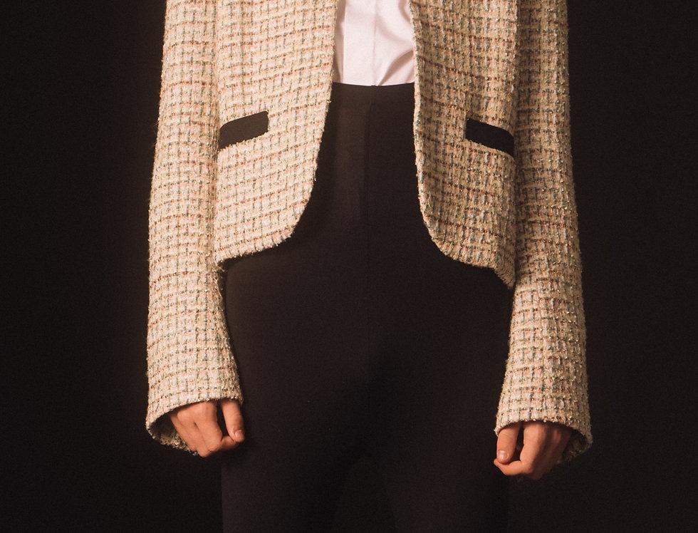 Pale Emerald Tweed Cropped Jacket