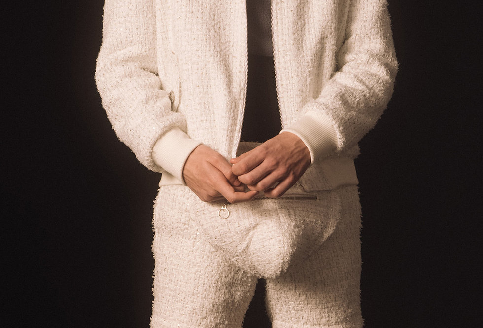 White Tweed Double-faced Bomber Jacket