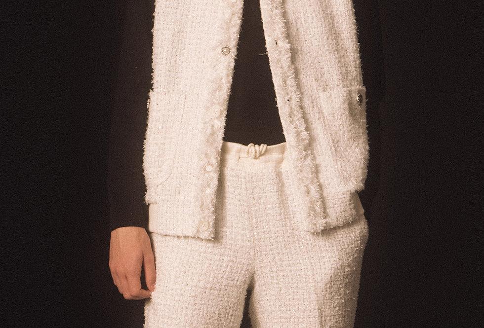 Cloudy White Tweed Gilet