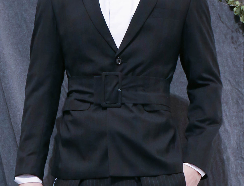 Black SB2 Tailored Jacket with Self-fabric Belt