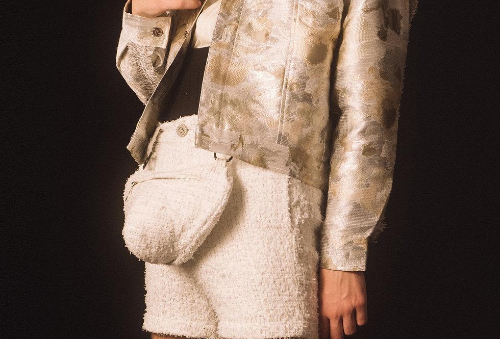 White Tweed Bulge Bag