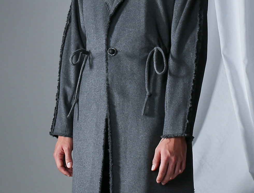 Drawstring Wool Coat