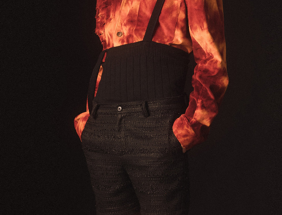 Distressed Flaming Shirt Jacket