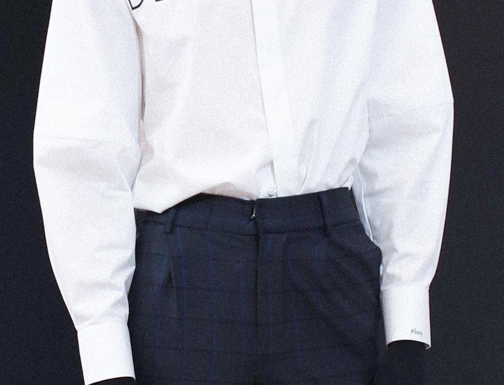 """DEMOBOY"" White Bell Sleeve Shirt"