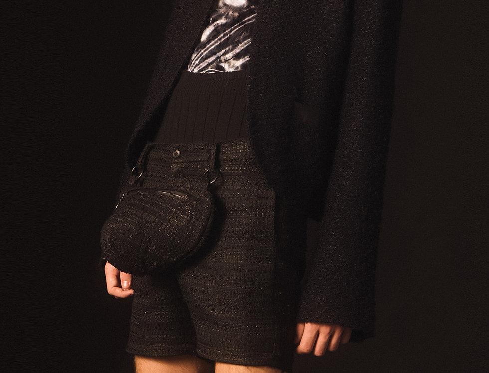 Black Tweed Bulge Bag