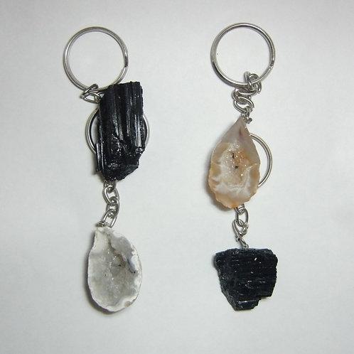 porta-chaves turmalina  e geodo