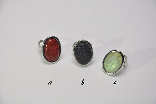 anéis em aço, com pedras variadas