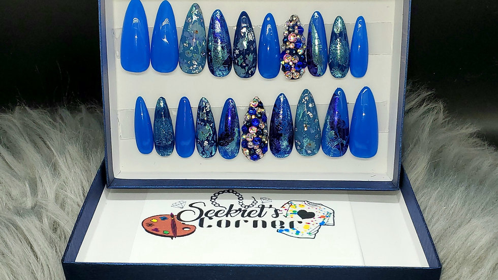 Blue Abstract Floral long Stiletto/Almond Luxury hand painted Press-on Nails