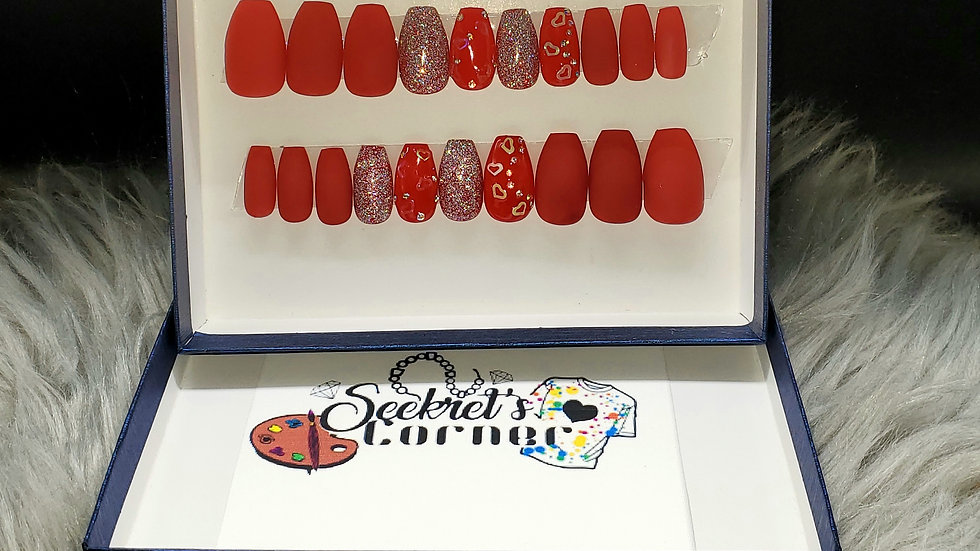 Red Holographic heart medium length coffin Luxury hand painted Press-on Nails