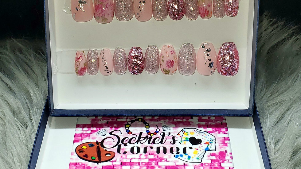 Baby Pink glitter rose medium length coffin Luxury hand painted Press-on Nails