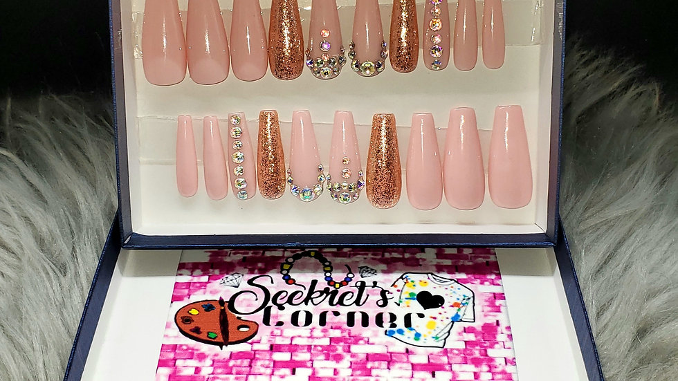 Pink Dreams long coffin shaped Luxury hand painted Press-on Nails
