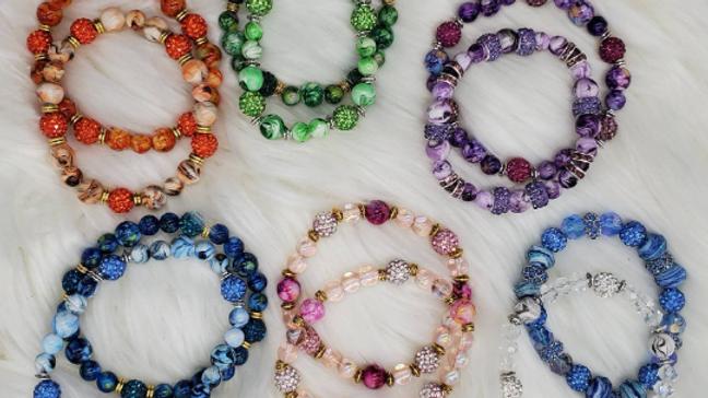 Multicolored Beaded bracelet, fashion bracelet, crystal beaded bracelet, stone b